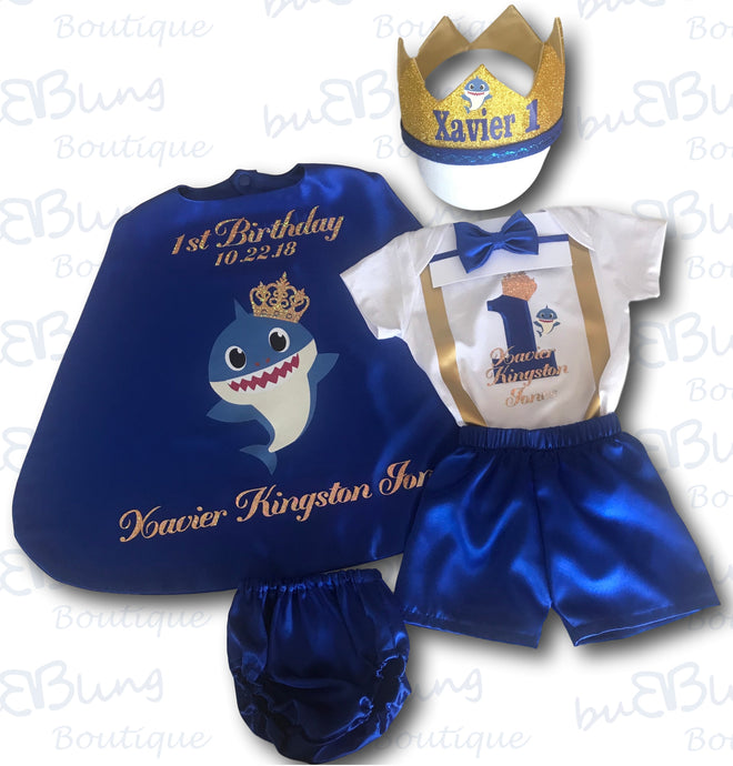 Baby Shark Little Prince Boys 1st Birthday Outfit just added