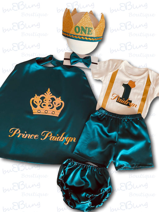 Emerald Green 1st birthday prince outfit for boys - now available!