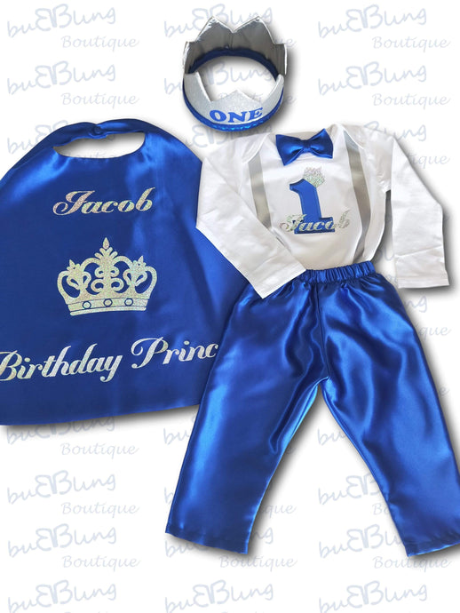 Silver Winter Prince Boys 1st Birthday Outfit now available