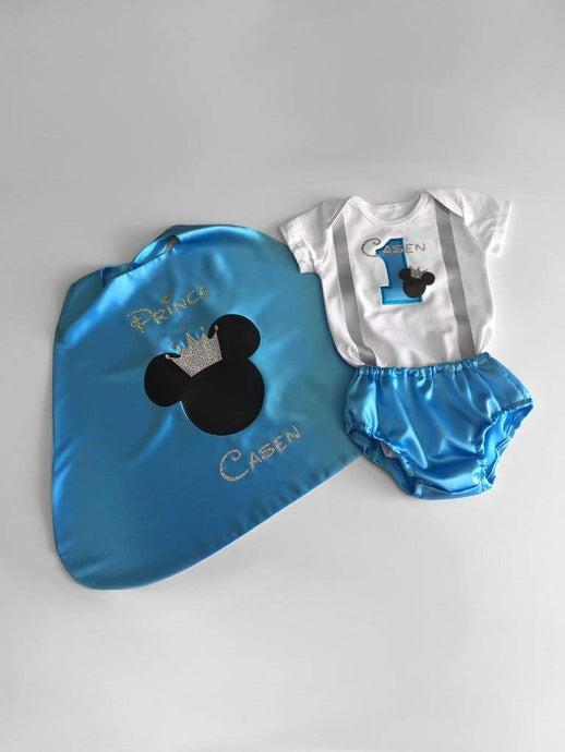 Aqua Silver Mickey Prince Boys 1st Birthday Outfit now available