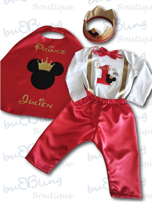 Red Long Sleeve 1st Birthday Outfit - Winter Mickey Prince now available