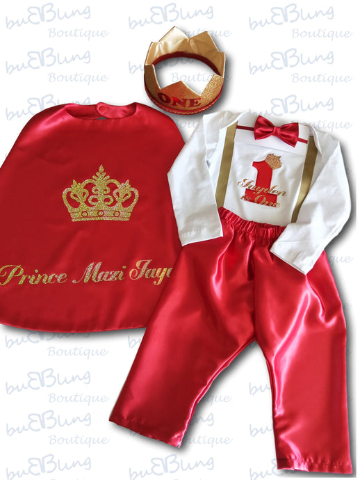 Red Winter Prince Boys 1st Birthday Outfit now available