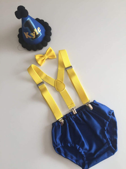 Royal Blue and Yellow Boys Cake Smash Outfit now available