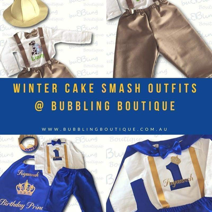 Winter range of our popular prince and safari cake smash outfits now available