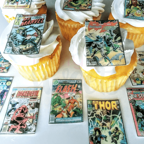 Edible Classic Comics Cupcake Toppers - Merry Go Sweets