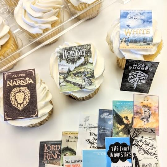 Edible Book Print Cupcake Toppers