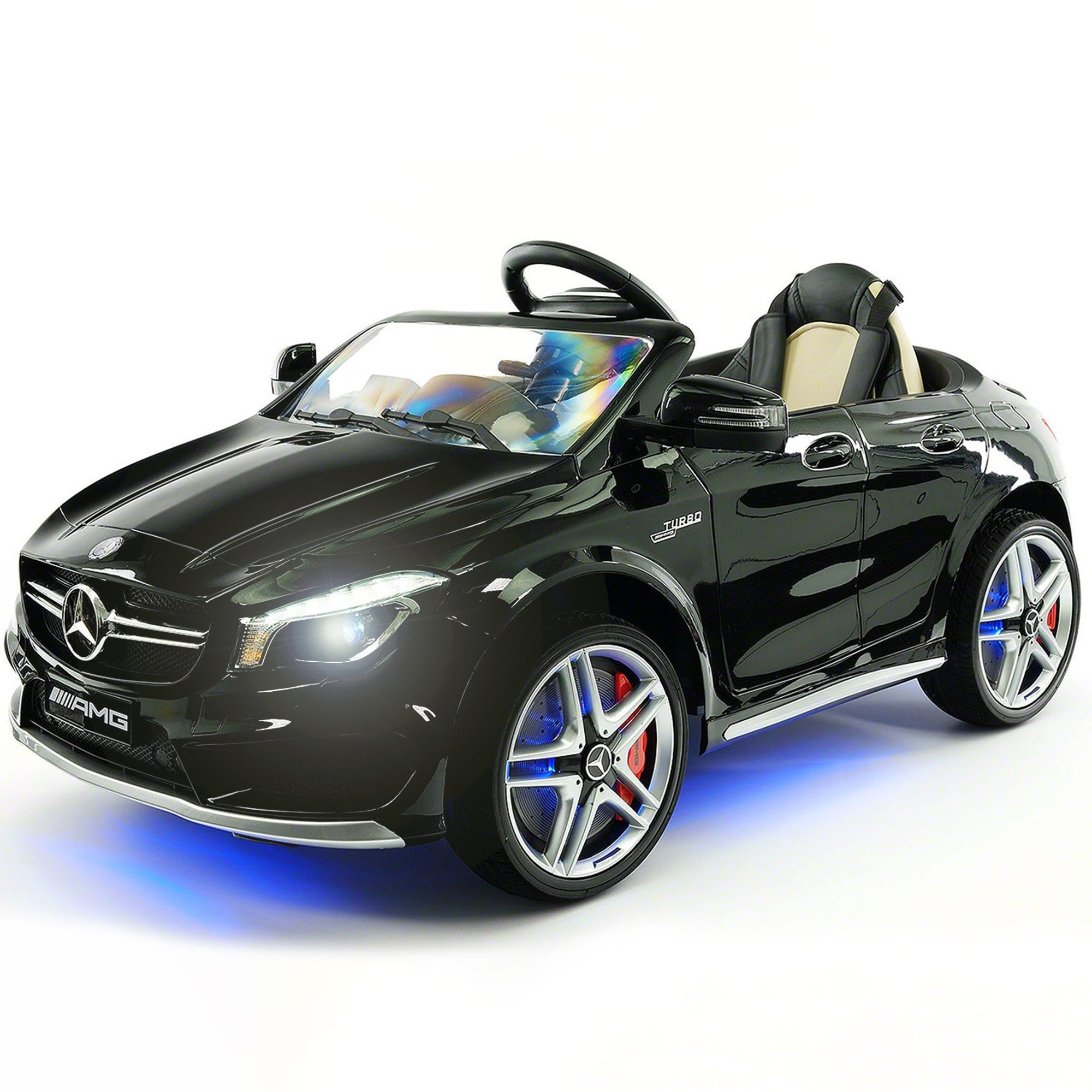 2019 Mercedes Benz CLA 12V Ride On Car for Kids | 12V Engine Power Licensed Kid Car to Drive with Remote, Dining Table, Leather Seat, Openable Doors, LED Lights - Black - Jay Goodys