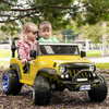 2021 Two (2) Seater Ride On Kids Car Truck w/ Remote, Large 12V Battery, Rubber Tires-Yellow