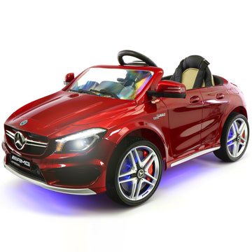 2019 Mercedes Benz CLA 12V Ride On Car for Kids | 12V Engine Power Licensed Kid Car to Drive with Remote, Dining Table, Leather Seat, Openable Doors, LED Lights - Red - Jay Goodys