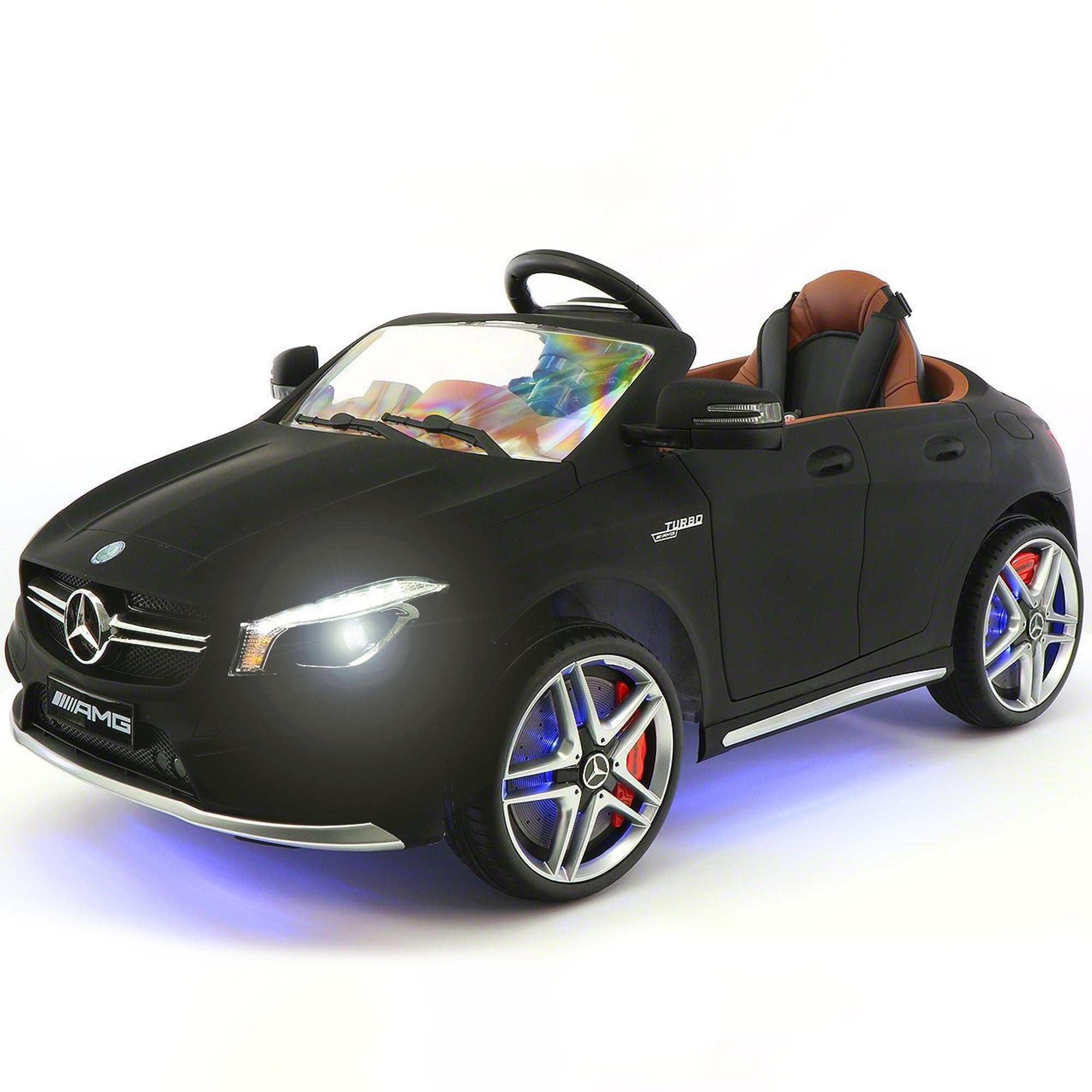 2019 Mercedes Benz CLA 12V Ride On Car for Kids | 12V Engine Power Licensed Kid Car to Drive with Remote, Dining Table, Leather Seat, Openable Doors, LED Lights - Dull Black - Jay Goodys