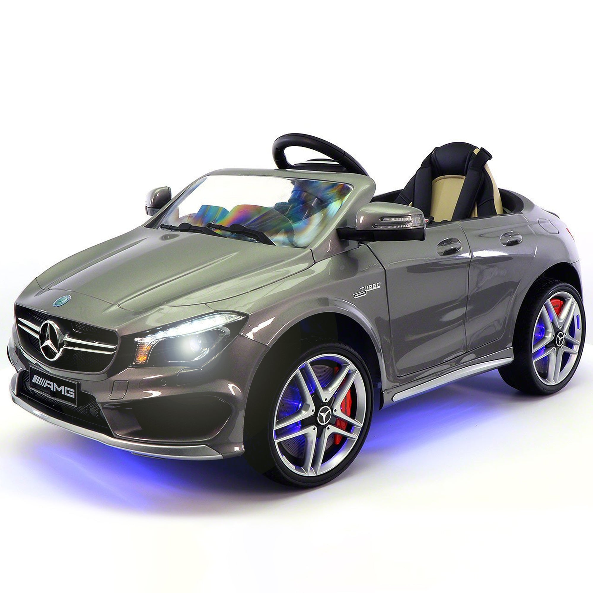 2019 Mercedes Benz CLA 12V Ride On Car for Kids | 12V Engine Power Licensed Kid Car to Drive with Remote, Dining Table, Leather Seat, Openable Doors, LED Lights - Silver - Jay Goodys