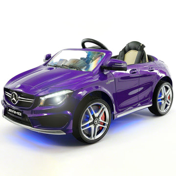 2019 Mercedes Benz CLA 12V Ride On Car for Kids | 12V Engine Power Licensed Kid Car to Drive with Remote, Dining Table, Leather Seat, Openable Doors, LED Lights - Purple - Jay Goodys