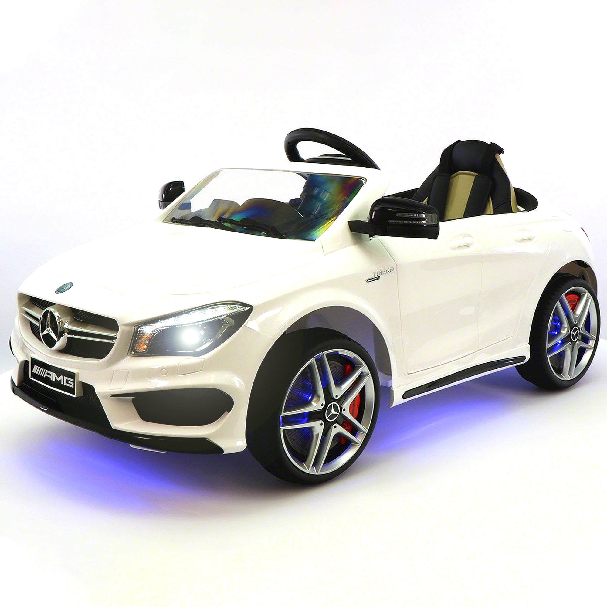 2019 Mercedes Benz CLA 12V Ride On Car for Kids | 12V Engine Power Licensed Kid Car to Drive with Remote, Dining Table, Leather Seat, Openable Doors, LED Lights - White - Jay Goodys