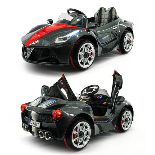 2020 Kids Ride On Car with Remote Control, Leather Seat & Rubber Tires - Black - Jay Goodys