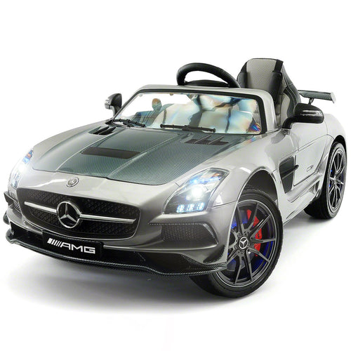 Mercedes Benz SLS AMG RC Ride On Car with Rubber Tires,Built in LCD TV, Lights, Leather Seat - Jay Goodys