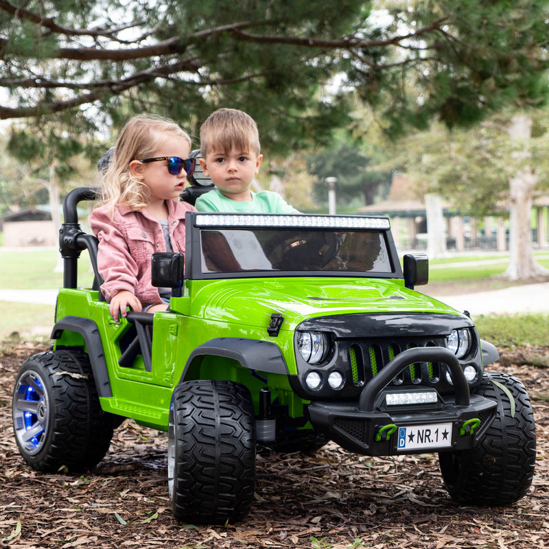2020 Two (2) Seater Ride On Kids Car Truck w/ Remote, Large 12V Battery, Rubber Tires - Green - Jay Goodys