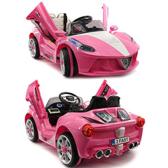 2019 Sport Kids Car Ride On Car Electric Battery Power w/ Skyline Doors, Leather Seat, Remote Control - Pink - Jay Goodys