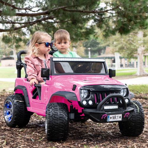 2020 Two (2) Seater Ride On Kids Car Truck w/ Remote, Large 12V Battery, Rubber Tires - Pink - Jay Goodys
