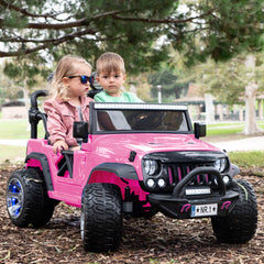 2019 Kids Explorer Ride On Truck 12V Two Seater Ride On Car - Pink - Jay Goodys
