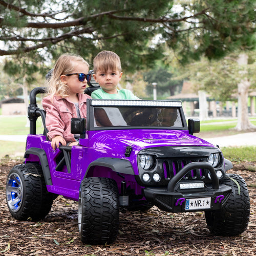 2020 Two (2) Seater Ride On Kids Car Truck w/ Remote, Large 12V Battery, Rubber Tires - Purple - Jay Goodys
