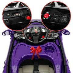 2019 Kids Sports 12V Ride On Car Battery Powered w/ Dining Table, Leather Seat, LED Lights - Purple - Jay Goodys