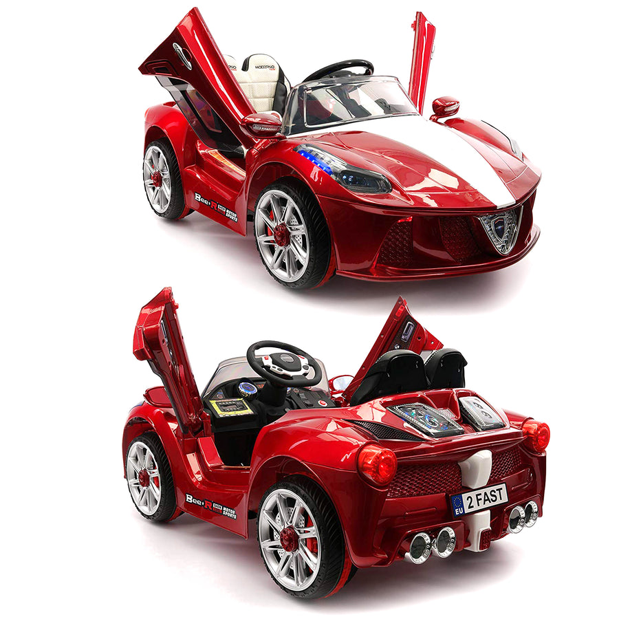 2019 Sport Kids Car Ride On Car Electric Battery Power w/ Skyline Doors, Leather Seat, Remote Control - Red - Jay Goodys