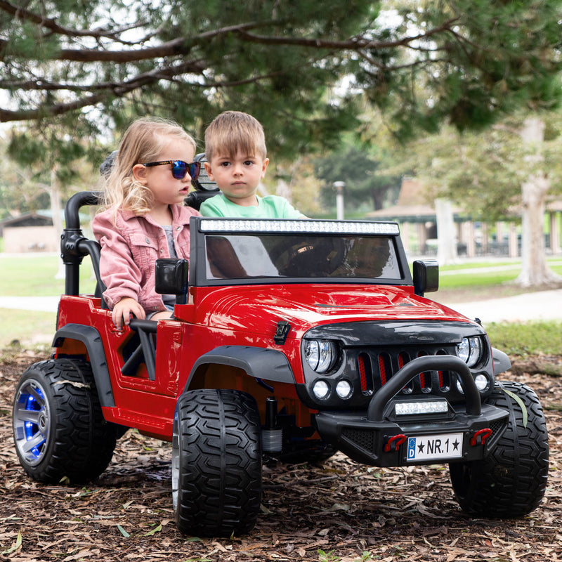 2020 Two (2) Seater Ride On Kids Car Truck w/ Remote, Large 12V Battery, Rubber Tires - Cherry Red - Jay Goodys