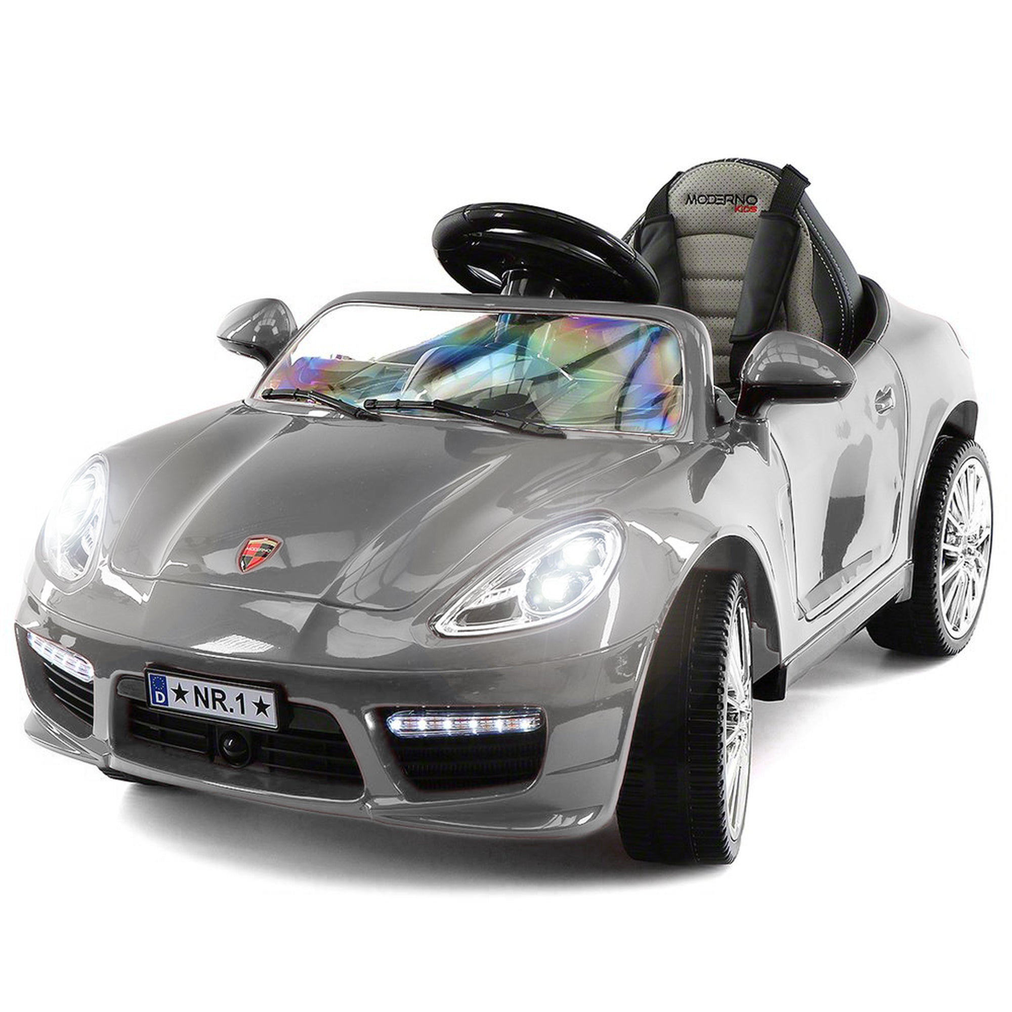 2019 Kids Sports 12V Ride On Car Battery Powered W/ Dining Table, Leather Seat, LED Lights - Silver - Jay Goodys