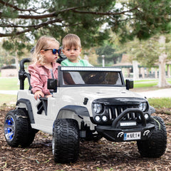 2019 Kids Jeep Ride On Truck 12V Two Seater Ride On Car - White - Jay Goodys