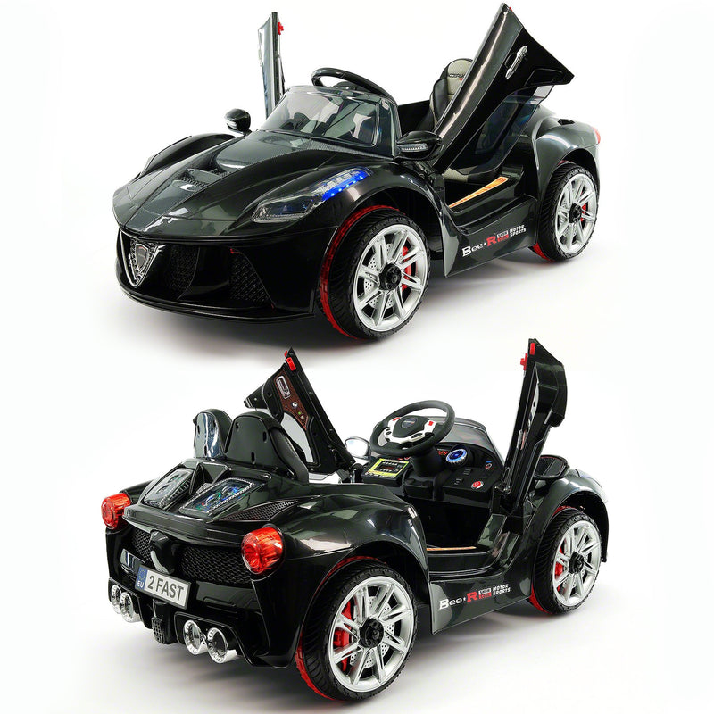 2020 Kids Ride On Car with Remote Control, Leather Seat & Rubber Tires - Carbon Black - Jay Goodys