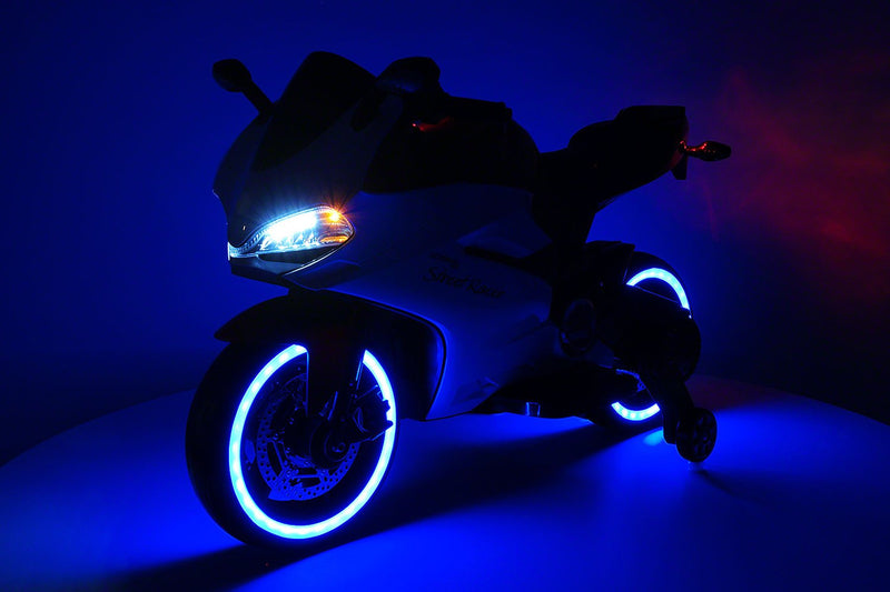 Blue Electric 12-Volt Motorcycle Ride On Toy For Kids - Jay Goodys