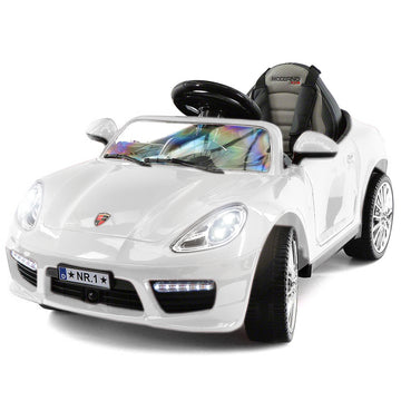 2019 Kids Sports 12V Ride On Car Battery Powered W/ Dining Table, Leather Seat, LED Lights - White - Jay Goodys