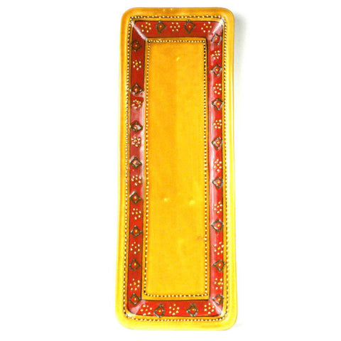 Hand-painted Long Platter in Honey Handmade and Fair Trade