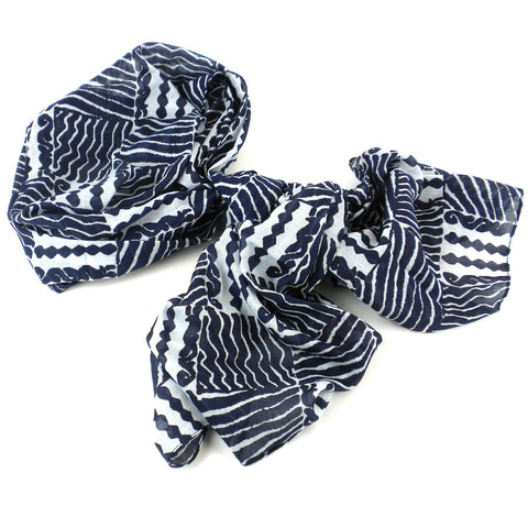 Black & White Geometric Cotton Scarf Handmade and Fair Trade