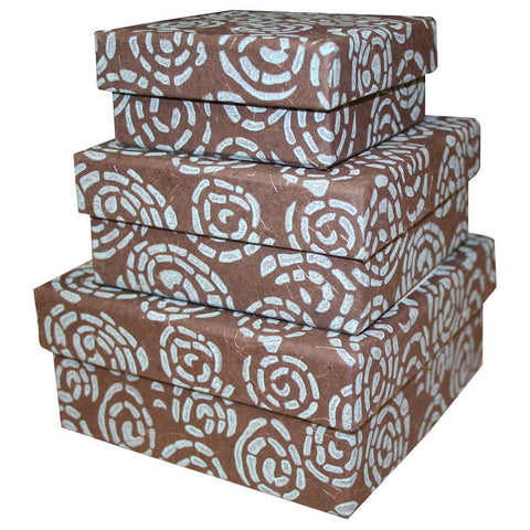 Cocoa Swirl Nesting Boxes - 3 Boxes - Sustainable Threads (J)