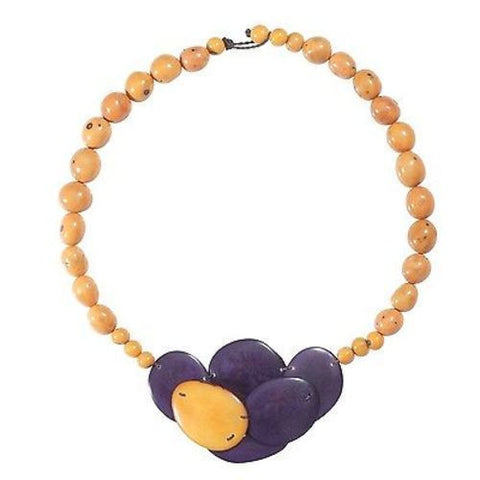 Isabela Seed and Tagua Necklace in Plum Handmade and Fair Trade