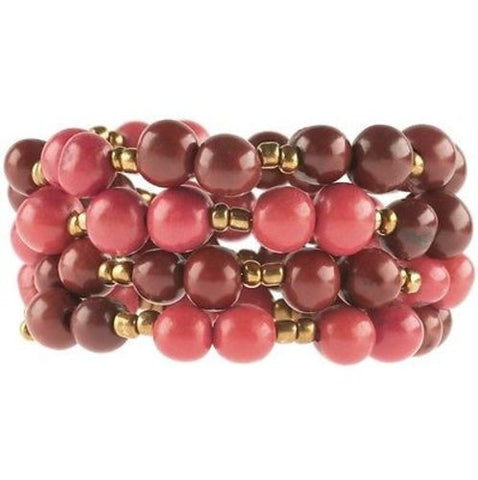 Colorblock Rope Bracelet - Burgundy and Coral Handmade and Fair Trade