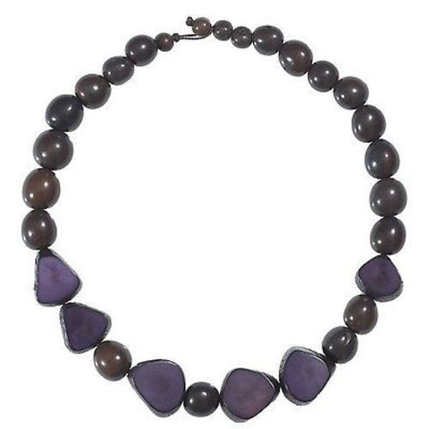 Gemma Tagua Necklace in Plum Handmade and Fair Trade