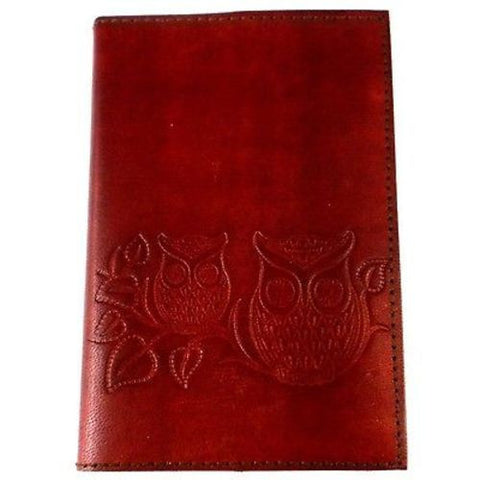 "Owls on a Twig"" Embossed Leather Journal Handmade and Fair Trade"