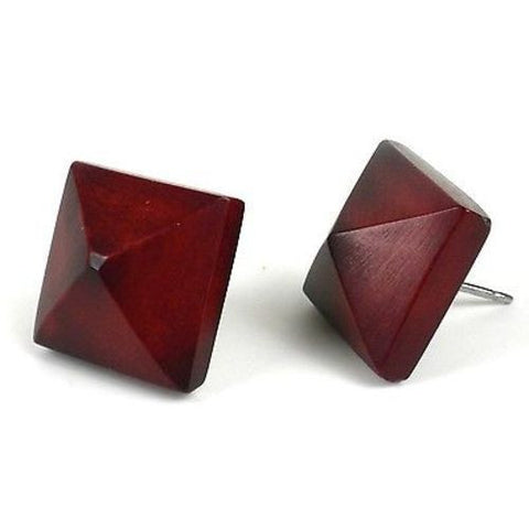 Spike Tagua Nut Stud Earrings in Burgundy Handmade and Fair Trade