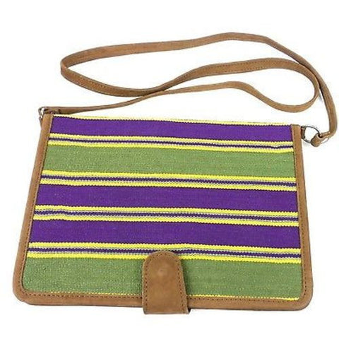 Purple and Green iPad Carry Case with Leather Trim Handmade and Fair Trade