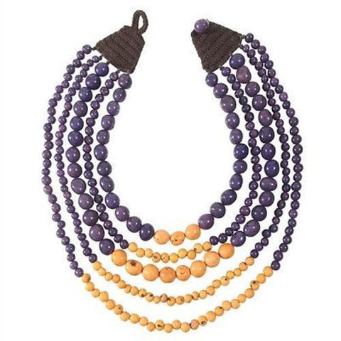 Cascade Acai Seed Necklace in Plum/Orange Handmade and Fair Trade