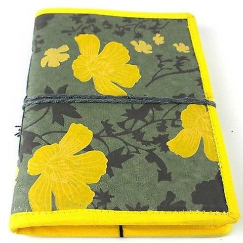 Spring Flower Journal with Yellow Trim Handmade and Fair Trade