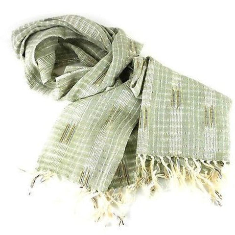 Wide Lightweight Open Weave Scarf in Green Handmade and Fair Trade