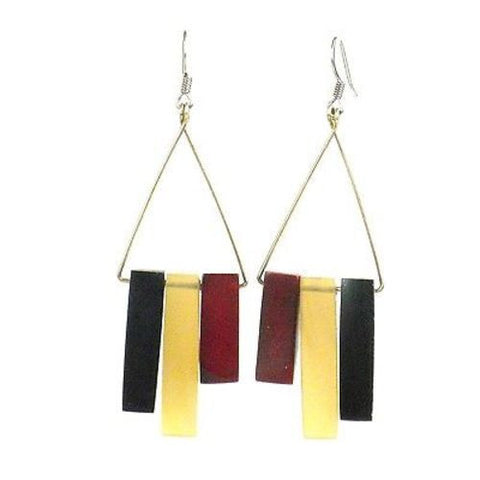 Bullhorn and Tagua Sticks Triangle Earrings - Burgundy  - Handmade and Fair Trade
