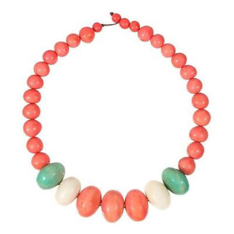 Tagua and Seed Manabi Necklace in Papaya Handmade and Fair Trade