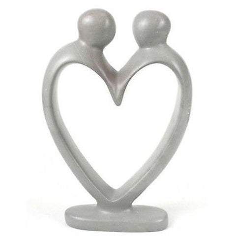 Handcrafted Soapstone Lover's Heart Sculpture in White Handmade and Fair Trade