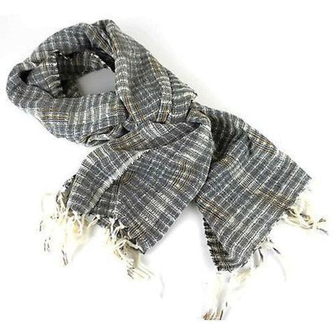 Wide Lightweight Open Weave Scarf in Gray Handmade and Fair Trade