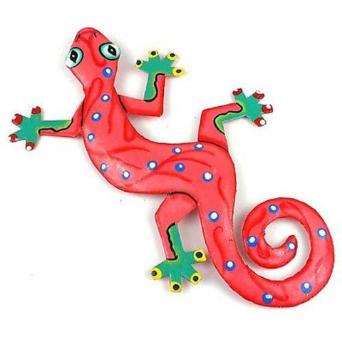 Eight Inch Bright Pink Metal Gecko - Caribbean Craft
