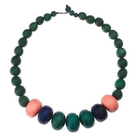 Tagua and Seed Manabi Necklace in Hunter Green Handmade and Fair Trade